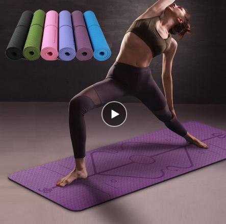 Коврик для йоги, не скользящий коврик из термополиуретана с разметкой для гимнастики